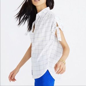 Madewell Window Print blouse with tie sleeves